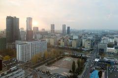 Lever de soleil à Varsovie Pologne image libre de droits