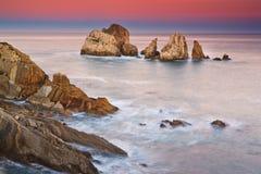 Lever de soleil étonnant de paysage marin Photo stock