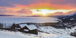 Lever de soleil Artic en Laponie Image libre de droits