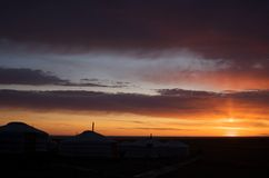 Lever de soleil au désert de Gobi Photos stock