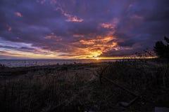 Lever de soleil au-dessus de détroit de Juan de Fuca photo stock