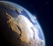 Lever de soleil au-dessus d'Antractic Images stock