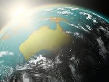 Lever de soleil au-dessus d'Australie illustration stock