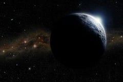 Lever de soleil au-dessus d'une planète Image stock