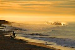 Lever de soleil au-dessus de côte californienne d'océan Photo stock