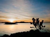 Lever de soleil au-dessus de chaussette avec des losanges de lac, Australie occidentale Photos libres de droits