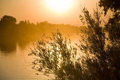 Lever de soleil au-dessus de fleuve de Sacramento Photographie stock