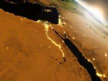 Lever de soleil au-dessus de l'Egypte illustration stock