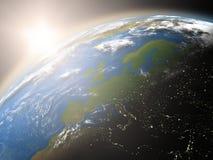 Lever de soleil au-dessus de l'Europe illustration de vecteur