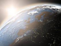 Lever de soleil au-dessus de l'Europe illustration stock