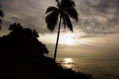 Lever de soleil au-dessus de l'océan avec des vagues se brisant le long du rivage rocheux Photographie stock libre de droits