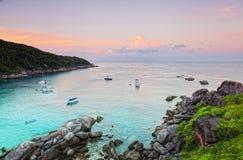 Lever de soleil au-dessus de la mer d'Andaman Image stock