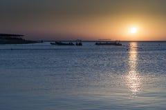 Lever de soleil au-dessus de la Mer Rouge de Hurghada Photos stock