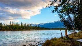 Lever de soleil au-dessus de la rivière d'Athabasca Image stock