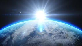 Lever de soleil au-dessus de la terre comme vu de l'espace Avec le fond d'étoiles rendu 3d Photographie stock libre de droits