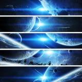 Lever de soleil au-dessus de la terre de planète dans l'espace illustration libre de droits