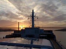 Lever de soleil au-dessus de Lisbonne Images libres de droits