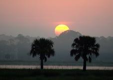 Lever de soleil au-dessus de marais de la Floride Images stock