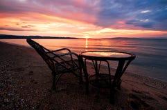 Lever de soleil au-dessus de mer Égée images libres de droits
