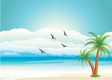 Lever de soleil au-dessus de mer Images libres de droits