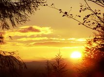 Lever de soleil au-dessus de mousse de la Flandre photo stock