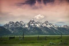 Lever de soleil au-dessus de parc national grand de Tetons Photographie stock libre de droits