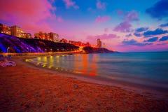 Lever de soleil au-dessus de plage Images libres de droits