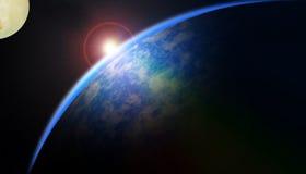 Lever de soleil au-dessus de planète illustration stock