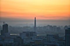 Lever de soleil au-dessus de Pyong Yang, DPRK - Corée du Nord Photographie stock