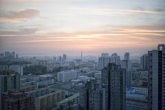 Lever de soleil au-dessus de Pyong Yang, DPRK - Corée du Nord Photos libres de droits