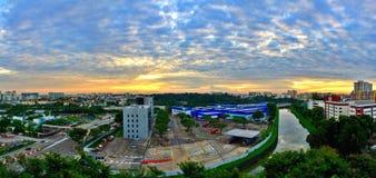 Lever de soleil au-dessus de Toa Payoh, Singapour Photographie stock