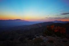 Lever de soleil au-dessus de vallée de Cochella Photos stock