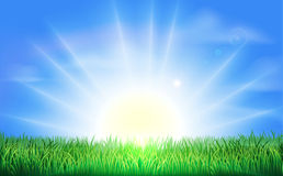 Lever de soleil au-dessus de zone verte d'herbe Image stock