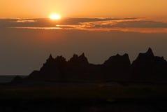 Lever de soleil au-dessus des bad-lands Images stock