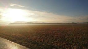 Lever de soleil au-dessus des champs en Bavière Photographie stock libre de droits