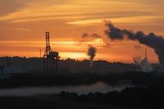Lever de soleil au-dessus des docks royaux de Portbury photo libre de droits