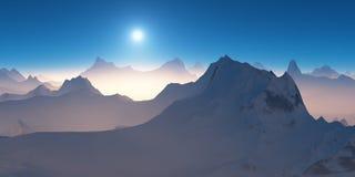 Lever de soleil au-dessus des montagnes Photo libre de droits