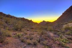 Lever de soleil au-dessus du désert de sonoran photographie stock libre de droits