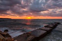 Lever de soleil au-dessus du filet de pêche 2 Photos libres de droits