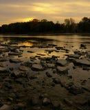Lever de soleil au-dessus du fleuve de Maumee Image libre de droits
