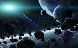Lever de soleil au-dessus du groupe de planètes dans l'espace illustration stock