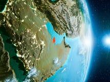 Lever de soleil au-dessus du Qatar sur terre de planète Photographie stock libre de droits