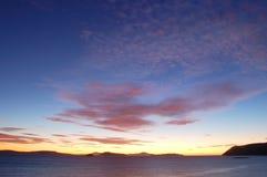 Lever de soleil au-dessus du Roi George Sound Image stock