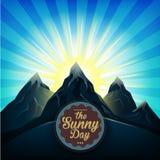 Lever de soleil au-dessus du vecteur lumineux du soleil de montagnes Photo stock