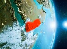 Lever de soleil au-dessus du Yémen sur terre de planète Photographie stock libre de droits