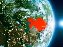 Lever de soleil au-dessus de Kazakhstan sur terre de planète Photo libre de droits