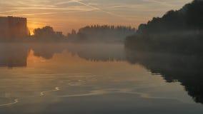 Lever de soleil au-dessus de l'eau katowice poland l'europe photographie stock libre de droits