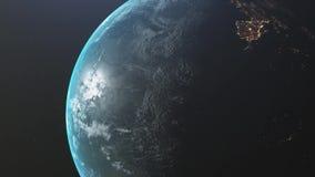 Lever de soleil au-dessus de la terre Vue stup?fiante de la terre de plan?te de l'espace HD 1920x1080 Animation 3D r?aliste illustration stock