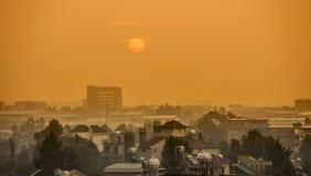 Lever de soleil au-dessus de la ville africaine d'Addis Ababa, Ethiopie image libre de droits