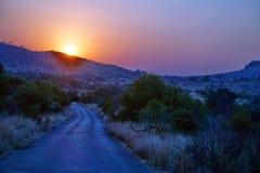 Lever de soleil au-dessus de parc national de Pilanesberg Images libres de droits